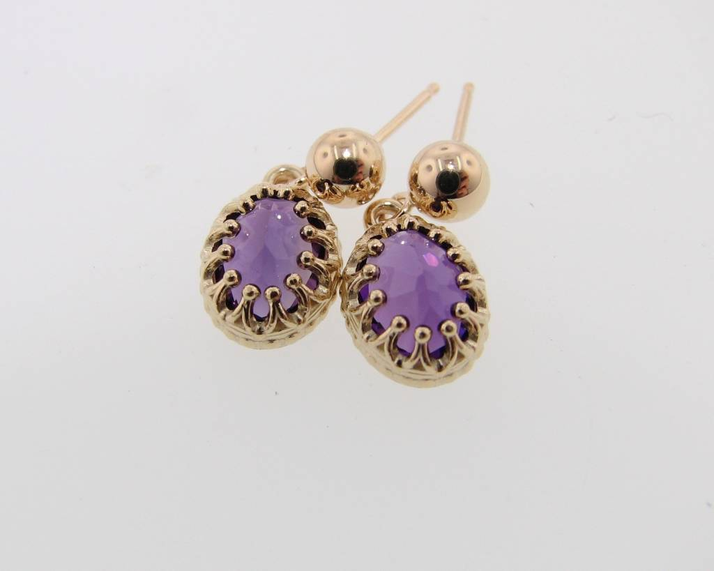 Vintage Yellow Gold Amethyst Earrings, Crown