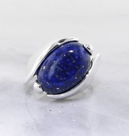 Sleek Lapis Lazuli Silver Ring, Orbit