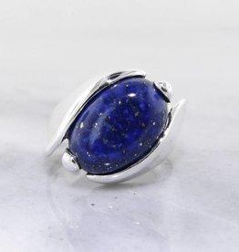 Sleek Lapis Lazuli Silver Ring, Orbit