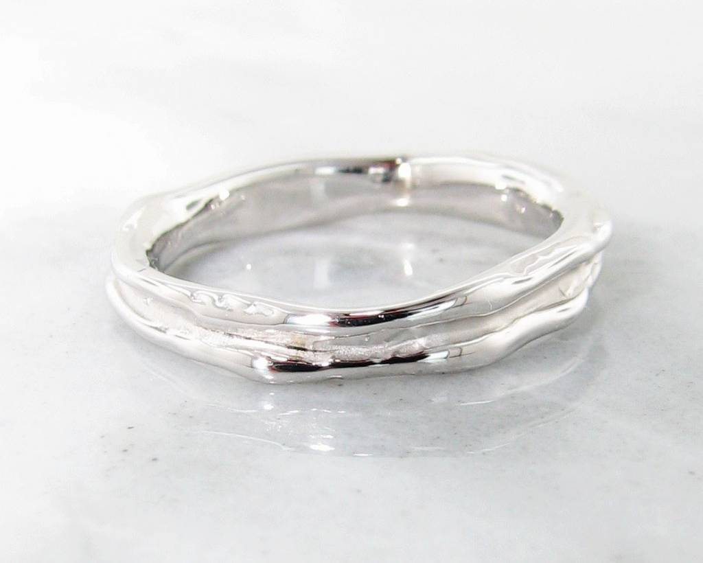 Organic White Gold Ring, Skinny Melted Band