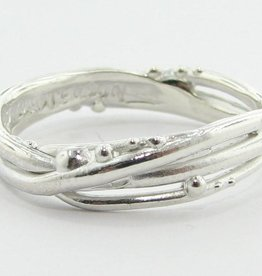 Organic Silver Ring, Bird's Nest Band