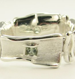 Rustic Green Silver Sapphire Ring, Melted Squares