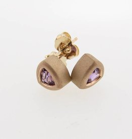 Sleek Amethyst Yellow Gold Bezel Earrings, Trillion