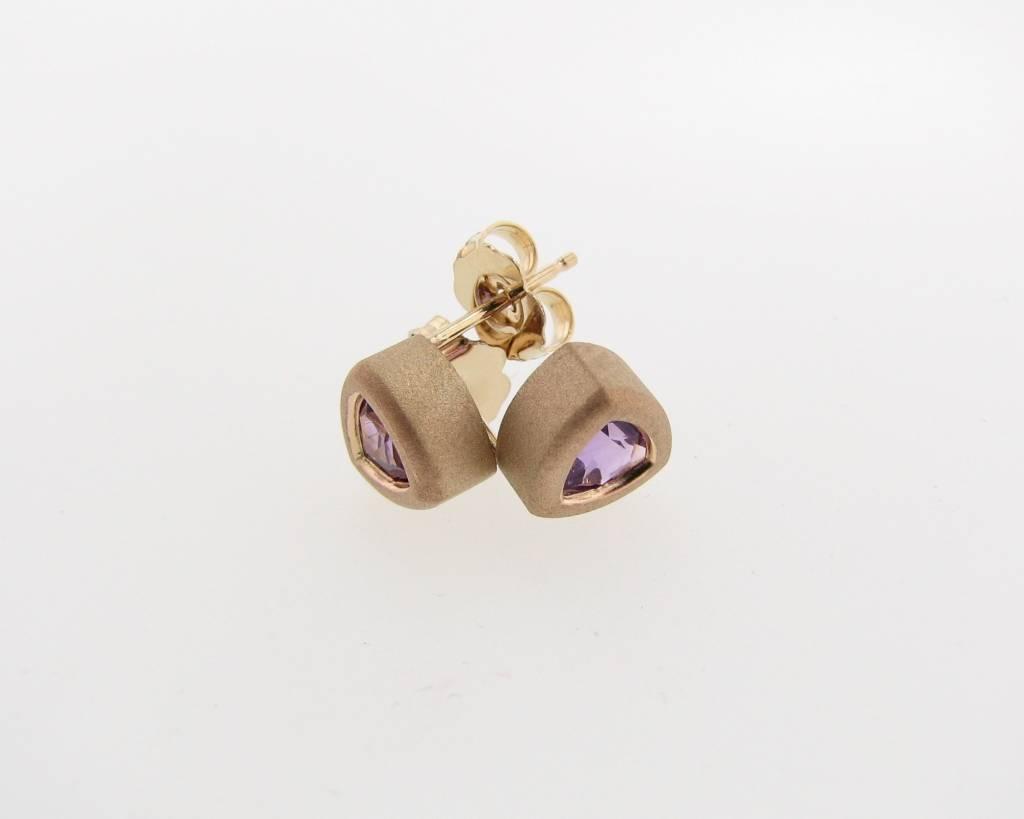 Sleek Amethyst Yellow Gold Bezel Earrings, Trillion