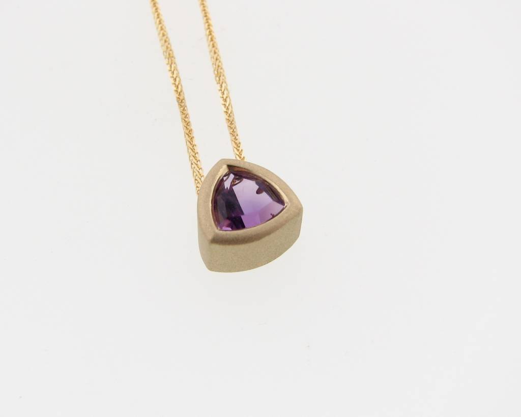 Sleek Amethyst Yellow Gold Bezel Necklace, Trillion