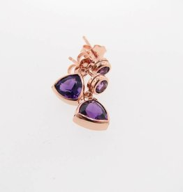 Sleek Rose Gold Amethyst Earrings, Trillion Dangle