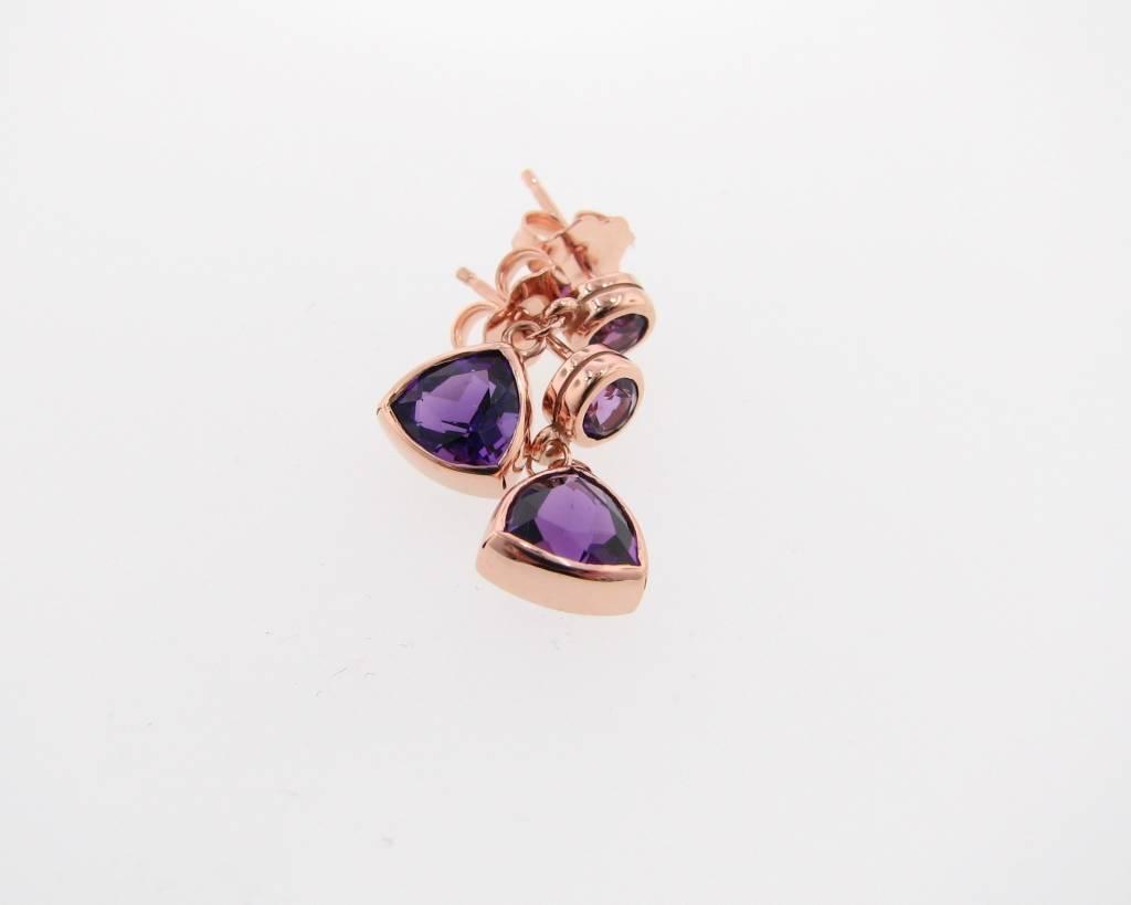 Sleek Rose Gold Amethyst Earrings, Trillion Dangle