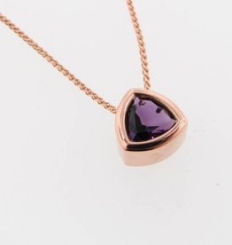 Sleek Rose Gold Amethyst Necklace, Trillion