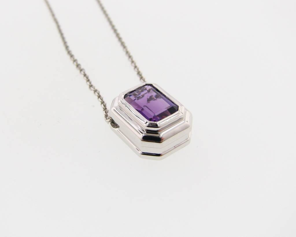 Sleek Amethyst White Gold Bezel Necklace