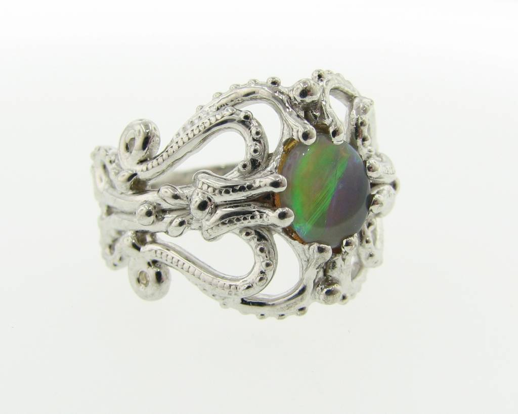 Vintage Opal Silver Ring, Victorian