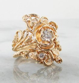 Signature Rose Diamond Yellow Gold Wedding Set, Jane Rose Ring