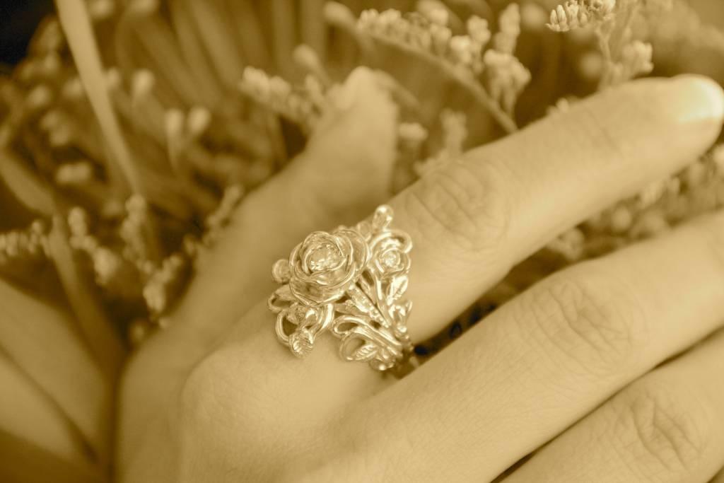 Signature Rose Diamond Yellow Gold Wedding Set, Jane Rose Ring