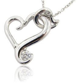 Signature Heart Silver Moissanite Heart Necklace, Flutter