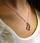 Signature Heart Silver Moissanite Heart Necklace, Flutter