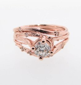 Organic Rose Gold Wedding Ring Set, Euro Cut Diamond, Cherry Blossom