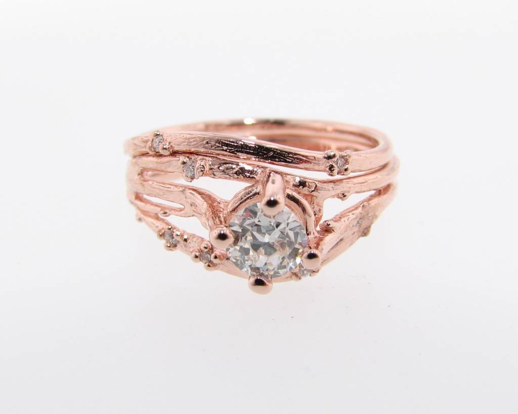 organic rose gold wedding ring set euro cut diamond cherry blossom - Rose Gold Wedding Ring Set