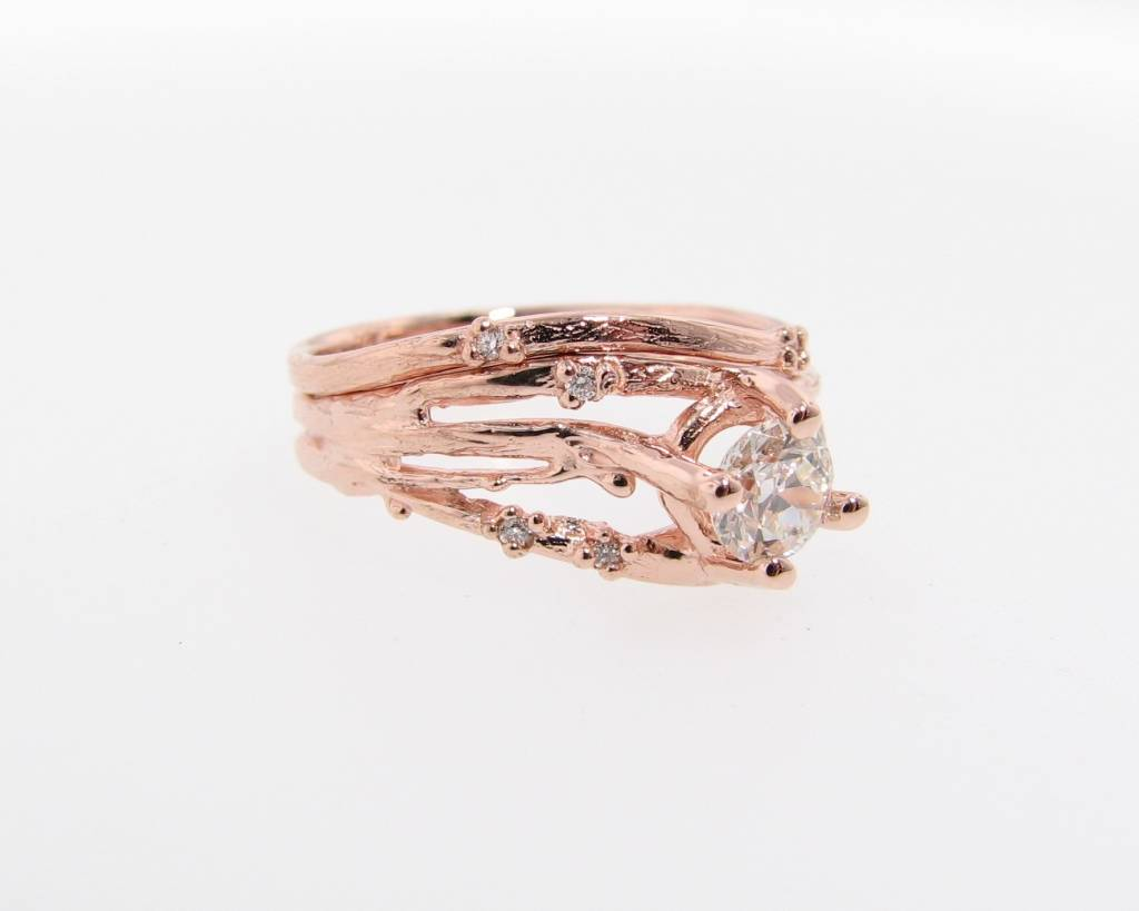 Anic Rose Gold Wedding Ring Set, Euro Cut Diamond, Cherry Blossom