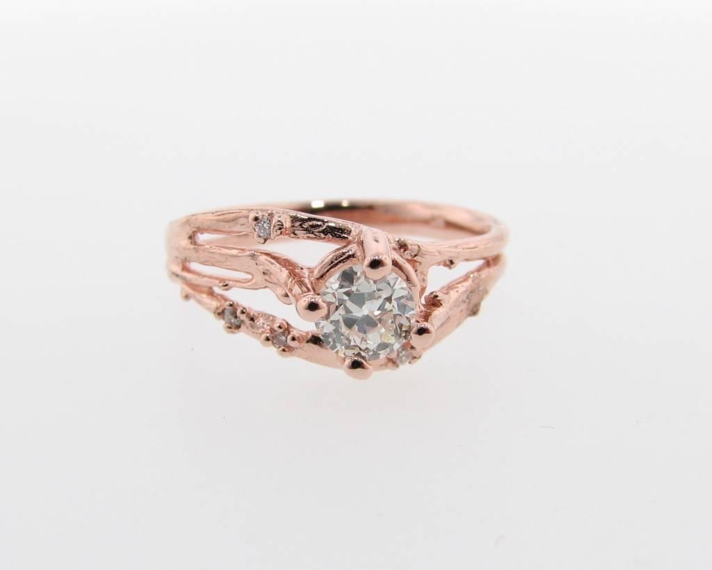 Organic Rose Gold Wedding Ring Set, Euro Cut Diamond, Cherry Blossom