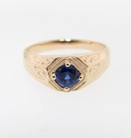 Vintage Sapphire Yellow Gold Men's Ring, Decorous