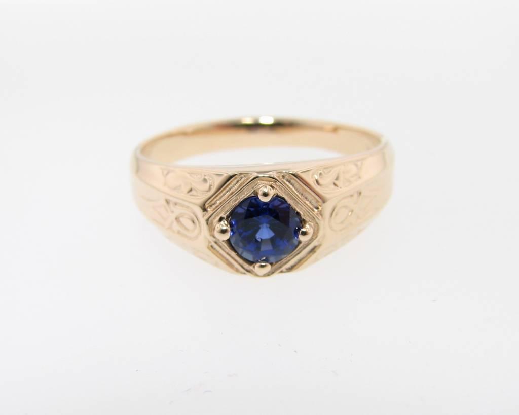 Vintage Sapphire Yellow Gold Men's Ring, Decorous