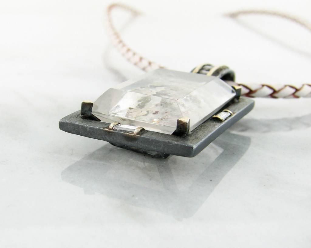 Rustic Iron Oxide Quartz Silver Pendant, Blackened