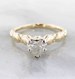 Timeless Bridal Diamond Solitaire Yellow Gold Ring, Heart Shape