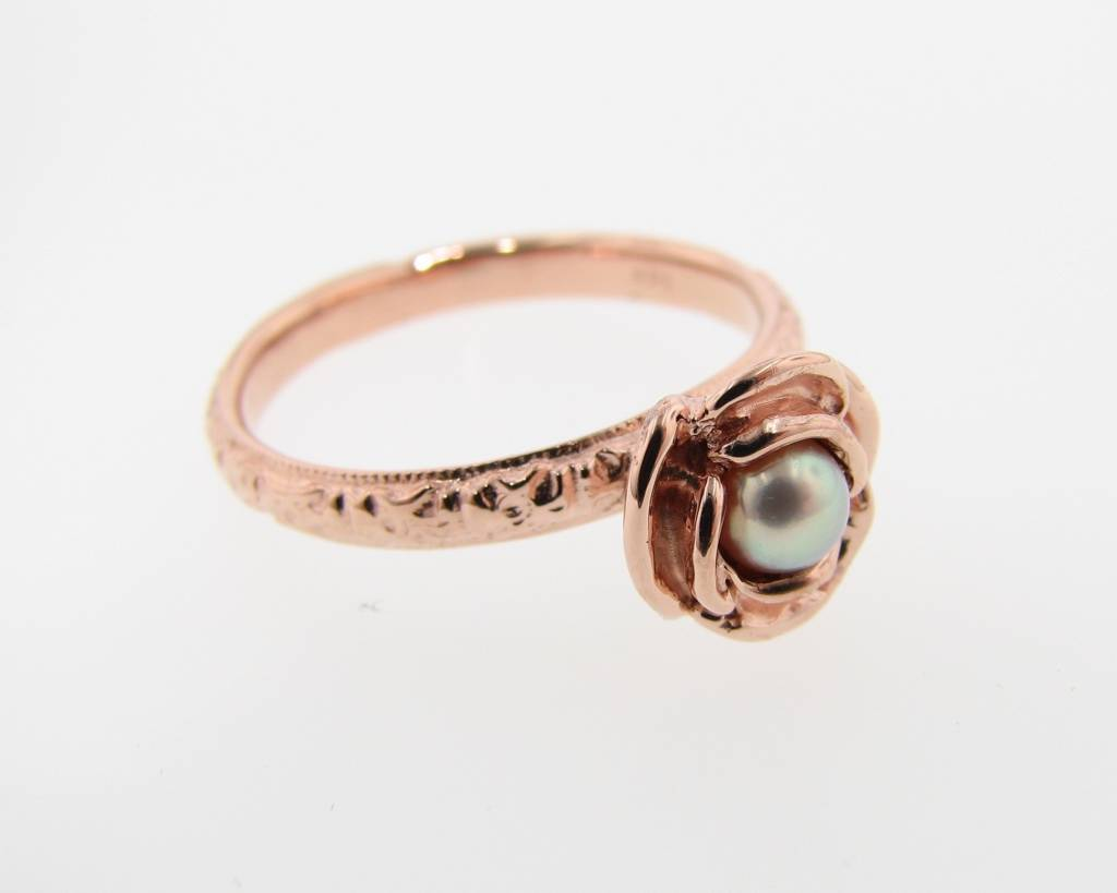 Signature Rose Pearl Rose Gold Ring, Stacking Solitaire Rose