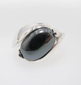 Sleek Silver Hematite Ring, Orbit