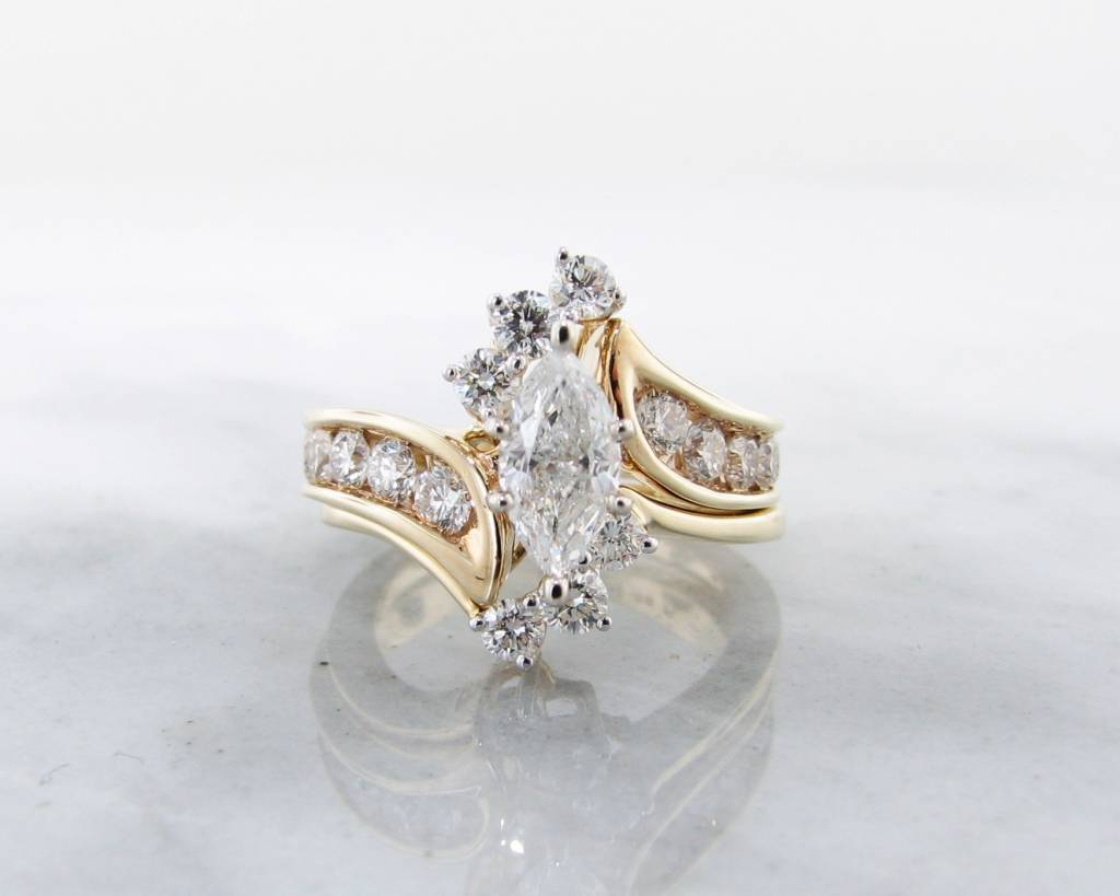 timeless bridal yellow gold diamond wedding ring set fitted - Engagement Wedding Ring Set