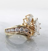 Timeless Bridal Yellow Gold Diamond Wedding Ring Set, Fitted, Marquise