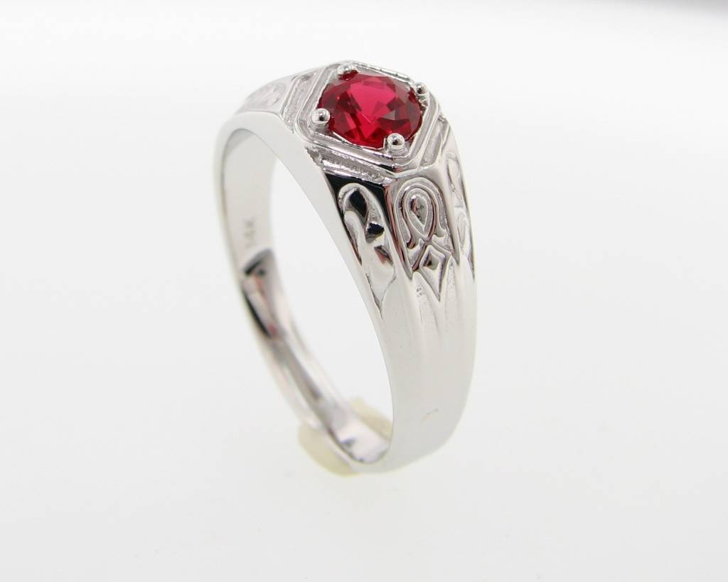Vintage Ruby White Gold Men's Ring, Decorous