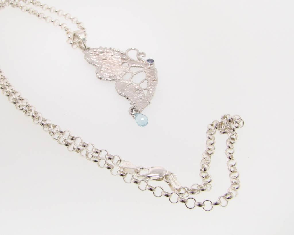 Organic Lace Butterfly Silver Necklace, Tanzanite, Blue Topaz