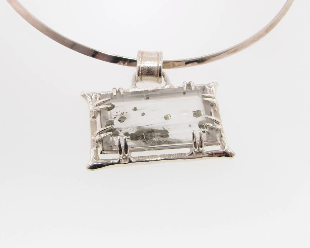 Sleek Rutilated Quartz, Pyrite, Silver Necklace