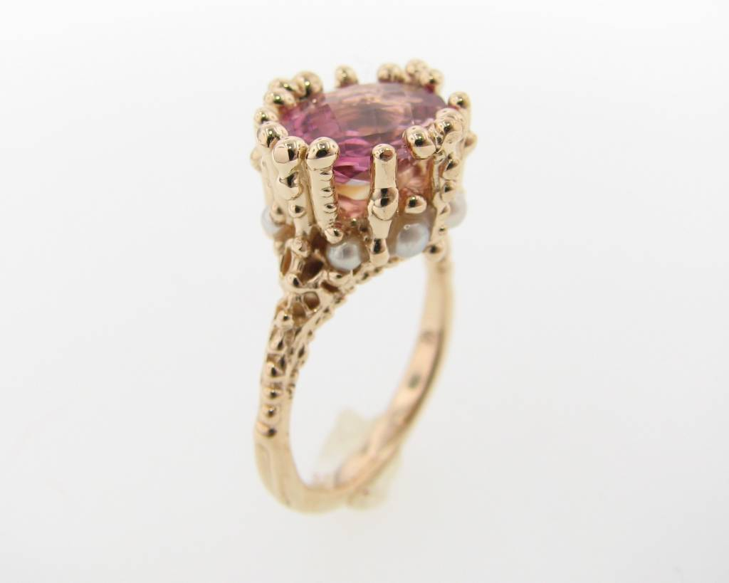 Vintage Tourmaline Pearl Yellow Gold Ring, Princess