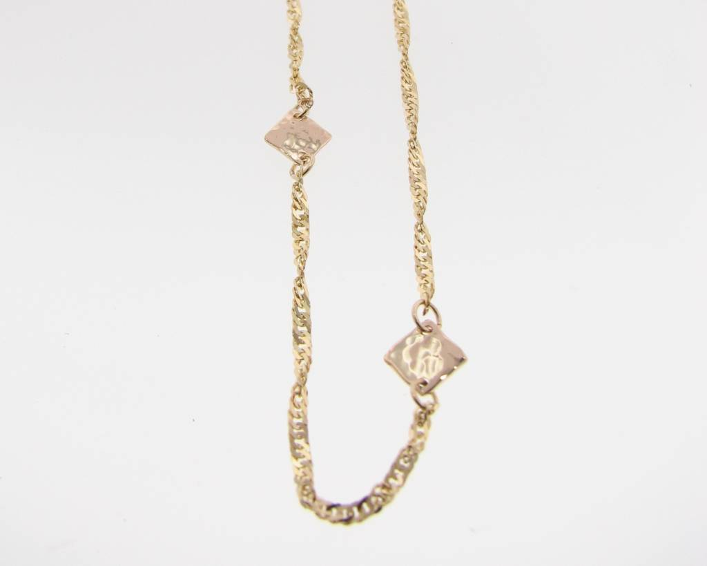 Hammered Yellow Gold Necklace, Hammered Stations