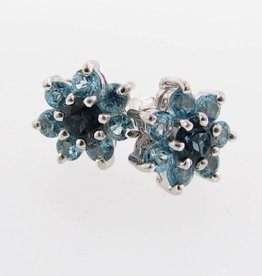 Vintage Blue Topaz Silver Cluster Earrings
