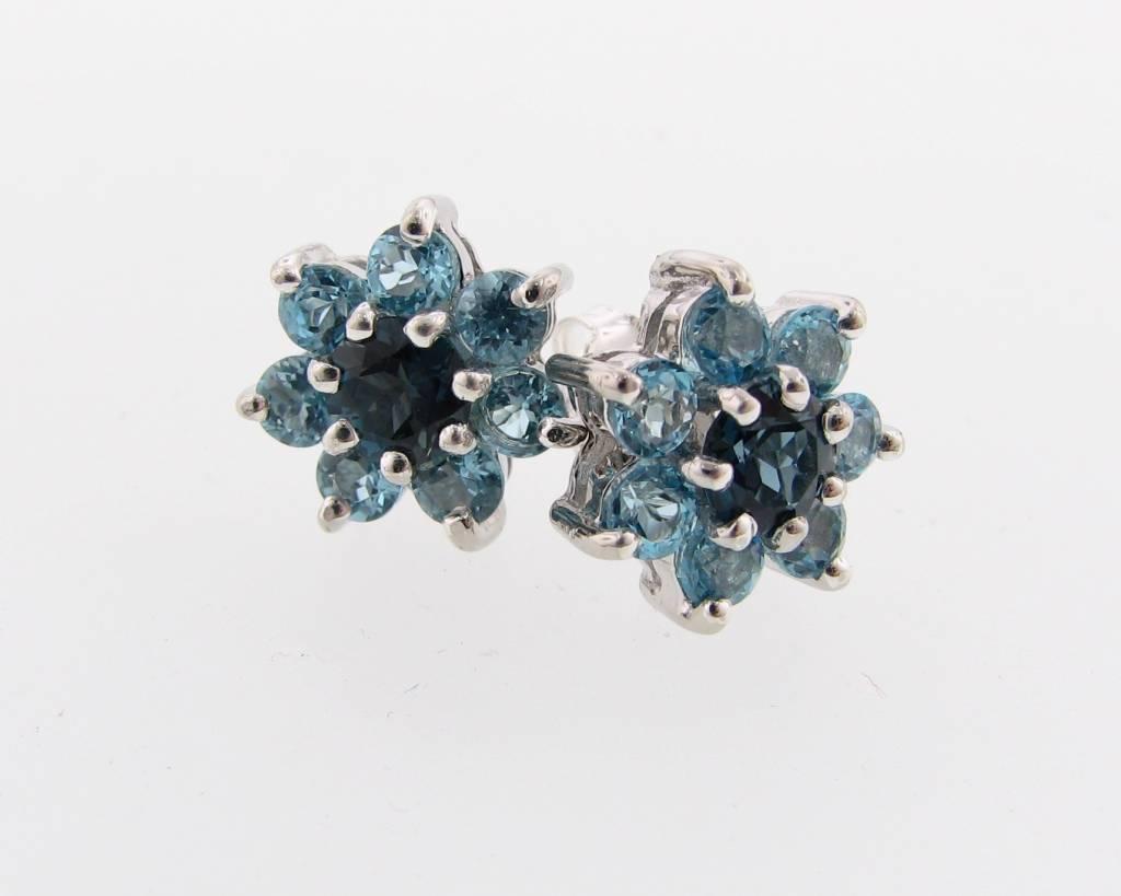 Vintage Blue Topaz Silver Cluster Earrings