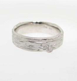 Organic Silver Birch Band Ring, Medium, Sandblasted
