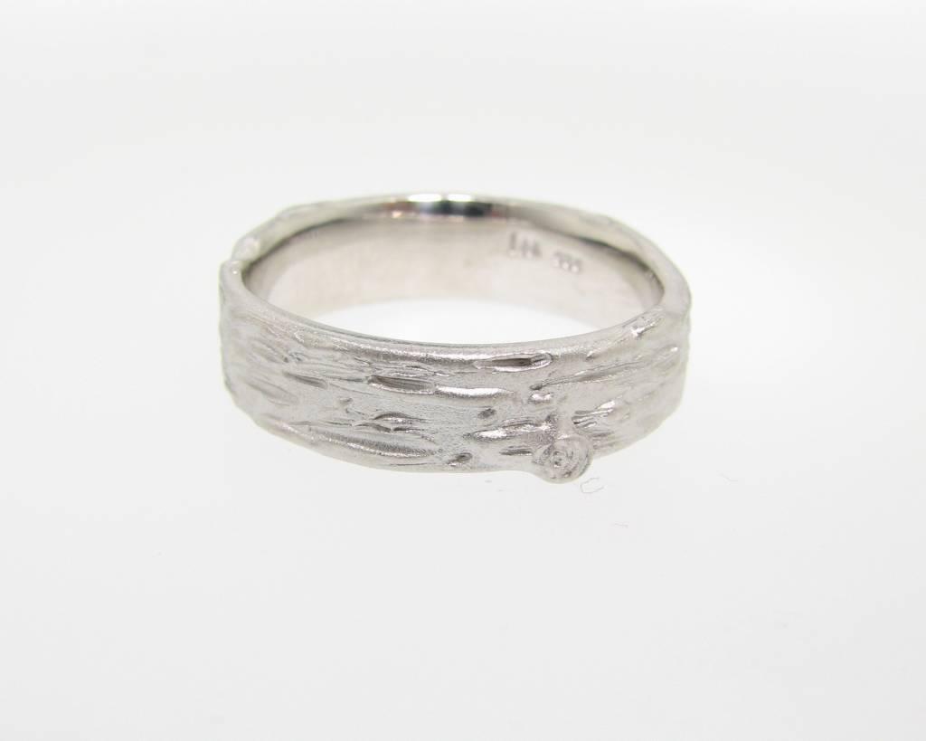 Organic Silver Birch Band Ring, Medium, Sandblasted