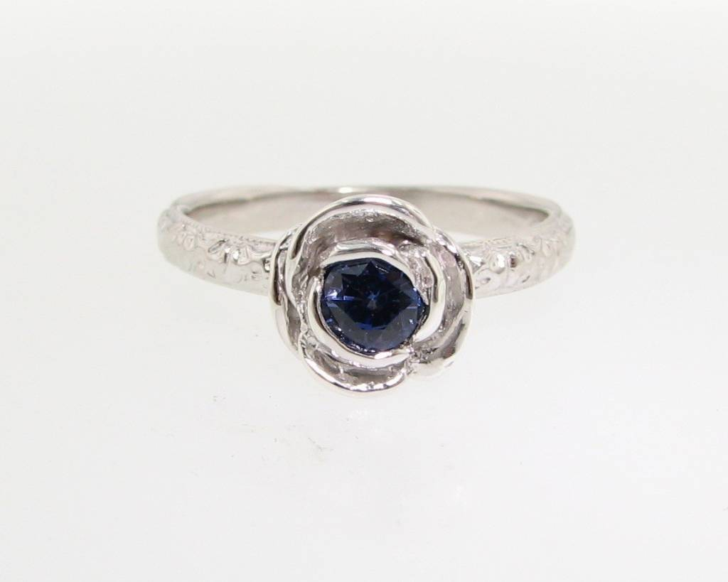 Signature Rose Silver Tanzanite Stacking Rose Ring