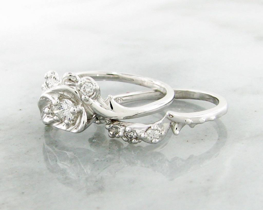 Organic White Gold Diamond Wedding Ring Set, Thorny Brambly Leaf