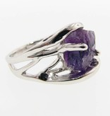 Motion Raw Amethyst Silver Ring, Openwork Arches
