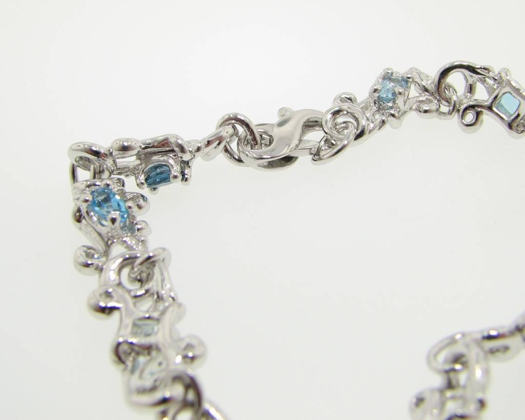 Motion Silver Gemstone Bracelet, Swirl Gradient Blue
