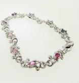 Motion Silver Gemstone Bracelet, Swirl Pastels