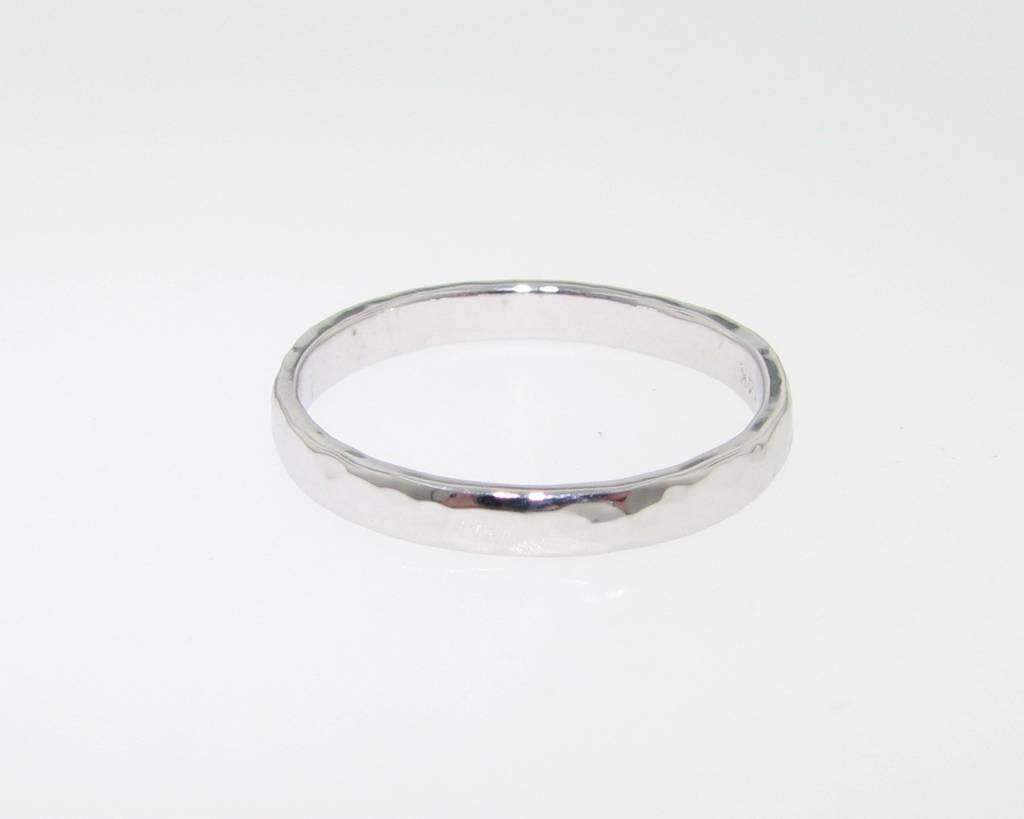 Hammered White Gold Hammered Ring, Slim Band