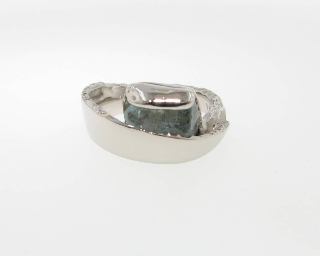 Motion Raw Aquamarine Palladium Ring, Sweep
