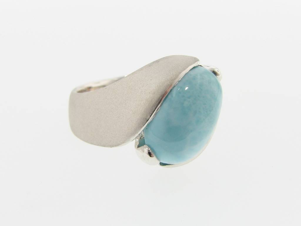 Sleek Larimar Silver Ring, Orbit, Sandblasted