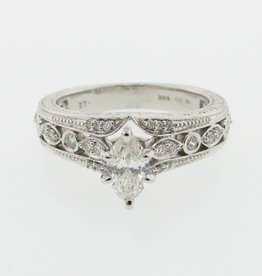 Vintage White Gold, Marquise Diamond Engagement Ring, Vintagey