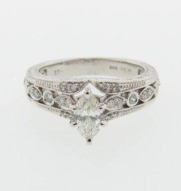 Vintage White Gold, Marquise Diamond Engagement Ring, Vintagey