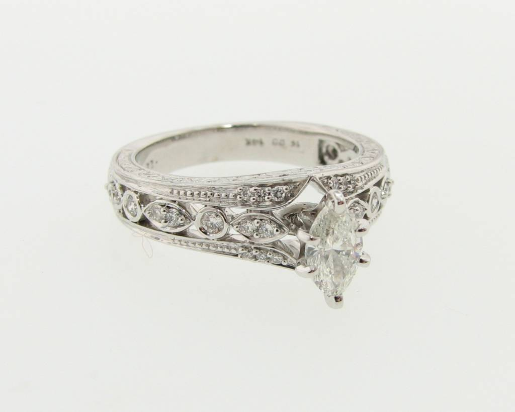 Vintage 0.47ct Marquise Engagement Ring, White Gold, Vintagey